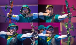 Australian Olympic Archers In Tokyo David Barnes Alice Ingley Ryan Tyack and Taylor Worth